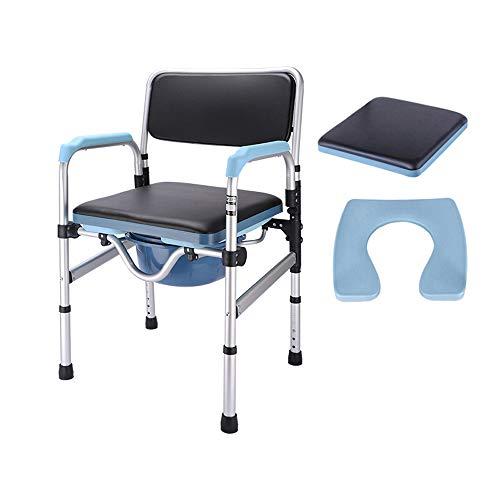 JFSKD Silla de baño, Silla de Ducha Plegable, Inodoro de Altura Regulable de Aluminio para Ancianos, Ancianos, Personas con Movilidad Reducida