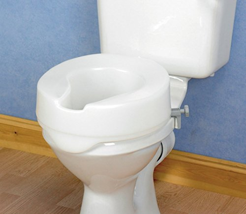 Homecraft Ashby Easy Fit Raised Toilet Seat, Elevated Toilet Seat Locks Onto Round Toilets, Portable Assistance Seat for Disabled & Elderly,10cm/4 inch High, White (Eligible for VAT relief in the UK)