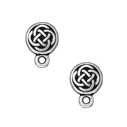 TierraCast Silver Plated Pewter Stud Post Earrings Celtic Circle 11mm (1 Pair)
