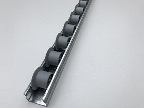 Röllchenleiste Röllchenschiene mit Spurkranzrollen grau (Länge: 1,5 m)