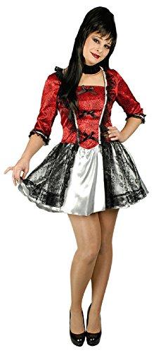 K31250216-40-42-A - Vestido rococ para mujer, talla 40-42, color rojo y negro