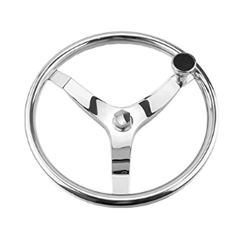 Fantastic Deal! Nologo Durable Stainless Steel 342mm Steering Wheel,Fits for Marine Yacht Easy to In...