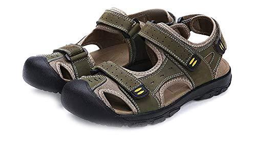 Hombres Sandalias Deportivas Verano Senderismo Chanclas Trekking Zapatos Cuero Playa Zapatillas Pescador Deporte Transpirable Antideslizantes (48 EU, Verde 2)