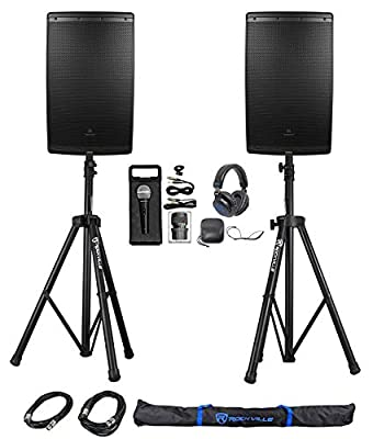 "(2) JBL EON615 15"" 2000 Watt Powered DJ PA Speakers+Stands+Cables+Mic+Headphones by JBL"