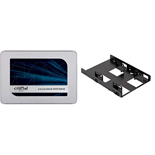 "Crucial MX500 1TB 3D NAND SATA 2.5 Inch Internal SSD, up to 560MB/s - CT1000MX500SSD1(Z) & Corsair Dual SSD Mounting Bracket 3.5"" CSSD-BRKT2, Black"