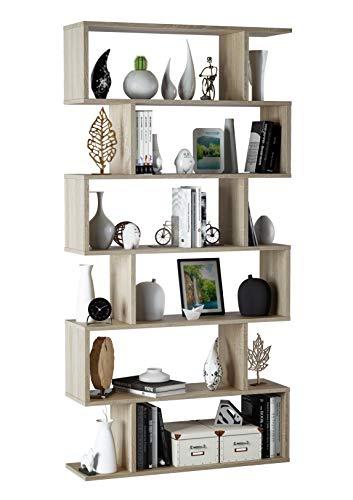 EGLEMTEK Libreria Friburgo Design Scaffale Mensola Moderna Rovere Mobile per Libri con Ripiani per Soggiorno Salotto 192 x 80 x 25 cm (Colore Rovere)