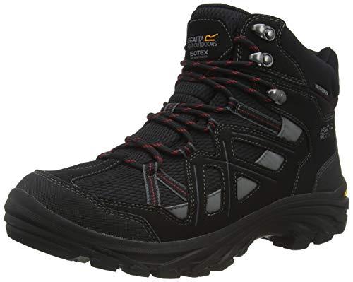 Regatta Burrell II, Walking Shoe Hombre, Black/Granite, 42 EU