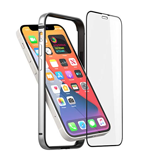 Slim Thin Phone Case Compatible with iPhone 12 Mini, Metal Bumper Cover with Soft TPU Inner [No Signal Interference][Support Wireless Charging] Compatible for iPhone 12 Mini, Silver