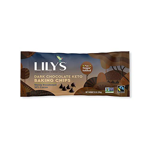 Keto Baking Chocolate Chips By Lily's Sweets | Stevia Sweetened, No Added Sugar, Low-Carb, Keto-Friendly | Fair Trade, Gluten-Free & Non-Gmo | 9 Oz, 3 Pack
