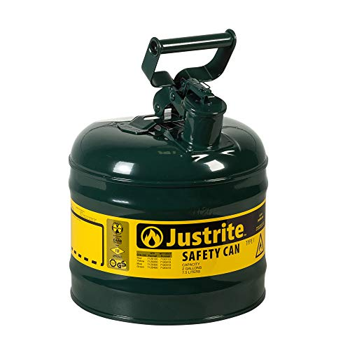 Justrite 7150400 Type I Galvanized Steel Oils Safety Can, 5 Gallon Capacity, Green