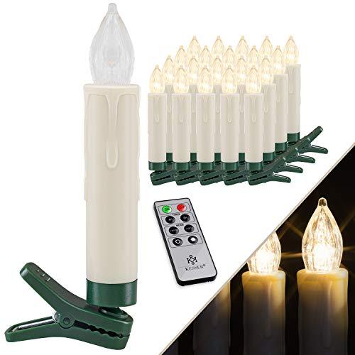 KESSER® Weihnachtsbaumkerzen 20 LED Inkl. Batterien Kabellos - Warmweiß - mit Fernbedienung Funk - Timerfunktion - Flackern - Dimmbar Weihnachtskerzen Christbaumkerzen Befestigungsklammern Kerzen
