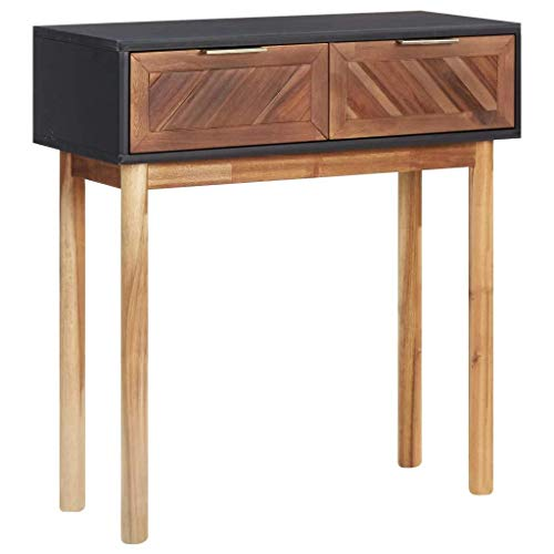 vidaXL Akazienholz Massiv Konsolentisch mit 2 Schubladen Konsole Beistelltisch Sideboard Flurtisch Wandtisch Telefontisch 70x30x75cm MDF