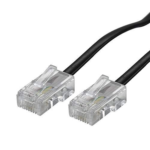 ecabo 10102 10m Modularkabel Telefonkabel – 2x RJ45 Stecker – Anschlusskabel – Westernstecker – 4adrig / 8P4C / 1:1 – Flachkabel für Telefon ISDN AB FAX Modem – schwarz