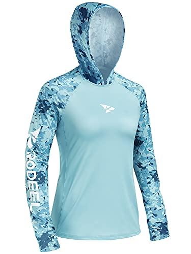 Rodeel - Sudadera con capucha para mujer de manga larga para correr con secado rápido, para deportes de secado rápido, para absorber la humedad, UPF 50, con agujeros para los pulgares