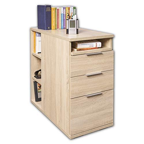 Schubladenschrank Rollcontainer Büro Möbel mit Schubladen [Mehr Funktionen] Container Sonoma Eiche ca. B 40 cm x H 75 cm x T 75 cm Konsolentisch Nachtkommode Nachttisch | Schreibtisch Unterschrank