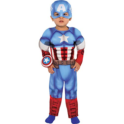 Suit Yourself Captain America Muscle Costume for Babies, Size 6-12 Months, Includes Padded Jumpsuit, Hat, and More
