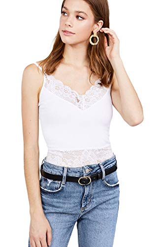 Women's V-Neck with Lace Detail Ribbed Seamless Cami Top - white - Medium
