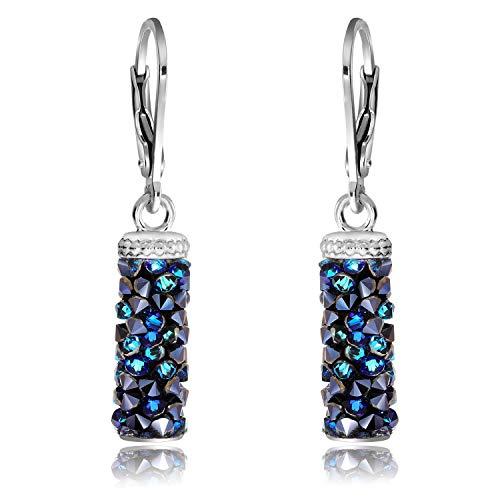 Chic Bijoux Pendientes Colgantes para Mujeres – Con Plata de Ley 925 y Cristales de Swarovski para Orejas Sensibles – Elección Multicolor, Regalo para Mamá e Hipoalergénicos (azul)
