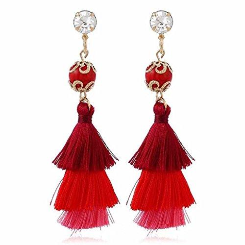 Fiesta De Bodas Pendientes Borla Mujer Pendientes Mujer Largos, FAMILIZO Estilo vintage Rhinestones Crystal Tassel Dangle Stud Pendientes de joyería de moda (Rojo)