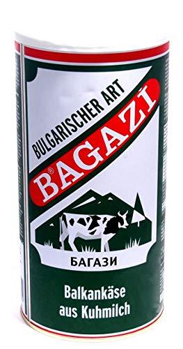 Bagazi Balkankäse Kuhkäse - 9x 800gramm - Käse Bulgarischer Art Cow Cheese in Salzlake Metalldose 64% Fett i. Tr. aus 100% Kuhmilch mild mikrobielles Lab vegetarisch glutenfrei Halal