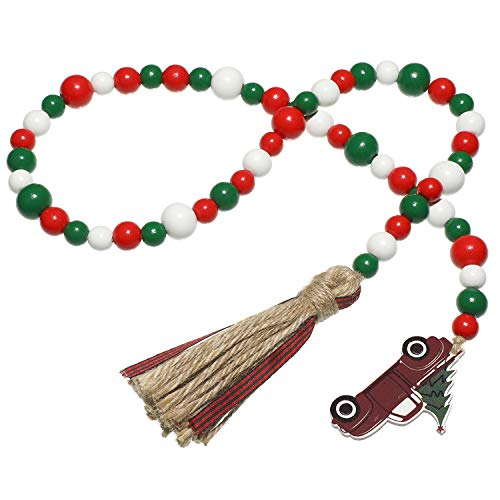 Xmas Wooden Bead Garland with Buffalo Plaid Rustic Tassels and Red Truck Tag Beaded Tassel Garland Natural Beads Garland for Christmas Tree Holiday Ornaments Decor Farmhouse