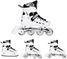 Nils Twinkle Schaatsen, 4-in-1-set, inlineskates, triskates, rolschaatsen, ijsschaatsen, wit, ABEC7-wieltjes met...