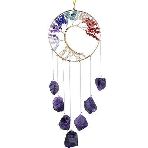 Nupuyai – Árbol de la vida de piedras en bruto, hecho a mano, 7 chacras, cristales curativos colgantes, decoración para casa, amatista