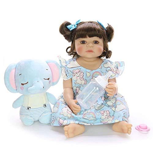 DAMAI STORE 22-Zoll-All-Silikon 55CM Simulation Mädchen Spielzeug Dekoration (Color : Blue)