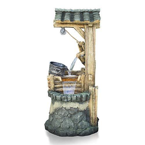 Alpine Corporation TZL128 Water Well Fountain w/Tiering Bucket, 50 Inch Tall, Grey
