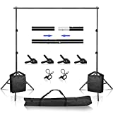 Backdrop Support Stand, 6.5 x 10 ft Adjustable Background Stand, Background Support System Kit with Spring Clamp, Sand Bag, Carry Bag for Photo Video Studio