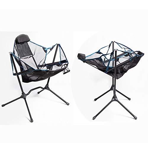 N \ A Tragbarer Campingstuhl im Freien, leichte Klappschaukelstühle, ultraleichte hohe Rückenlehne mit Kopfstützen-Seitentasche und Klappstuhl für Tragetaschen für Rucksacktouren im Freien