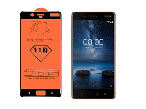 AAELOX 11D Tempered Glass Screen protector for Nokia 8 (Polished Copper, 64 GB)(4 GB RAM) [Easy Installation] [9H Hardness] [Scratch Resistant] [Non-Bubbles] (Colour Black)(Pack of 2)