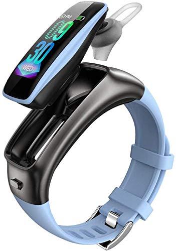 ZHENAO Smart Watch, Pantalla Táctil Táctil de Alta Definición de 0.96 Pulgadas, Auriculares de Música Bluetooth Pedómetro Deportivo de Dos en Uno-Negro Exquisito/Azul