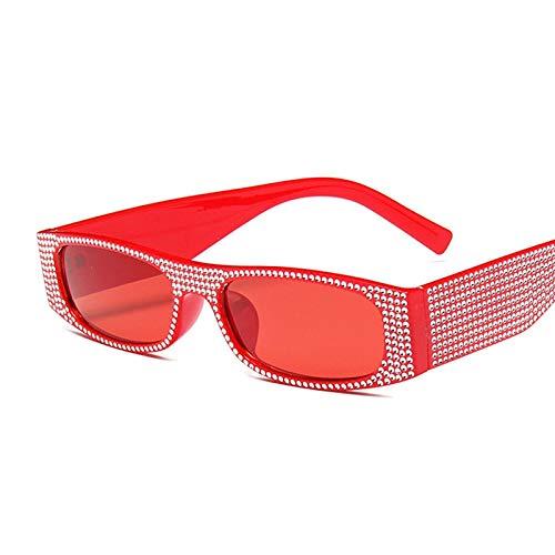 NJJX Gafas De Sol Cuadradas De Moda Para Mujer, Gafas De Sol Rectangulares Retro Vintage Para Mujer, Espejo Rosa, Pequeño Rojo