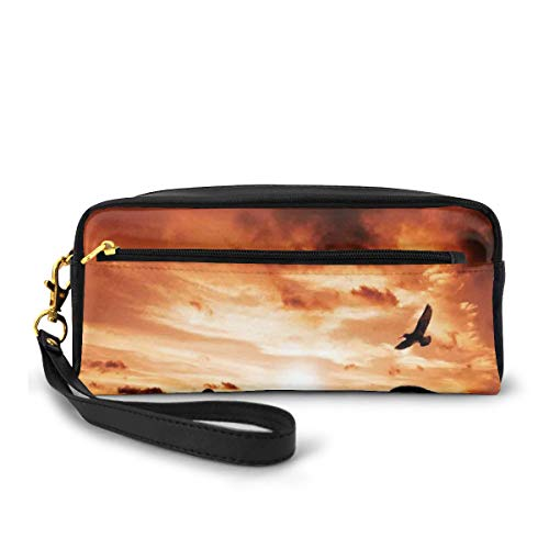 Pencil Case Pen Bag Pouch Stationary,A Sea Bird Flies Off Into The Amazing Sunset Cloudy Sky Sun Reflection On Surface,Small Makeup Bag Coin Purse