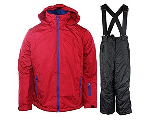 Pocopiano Jungen Skianzug Skijacke+Skihose 2-er Set Jacke Winterjacke Rot 116