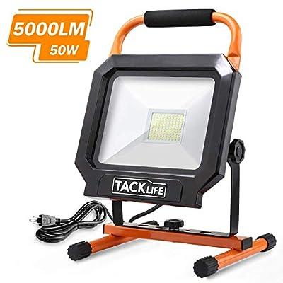 Tacklife LED Work Light [100LEDs,400W Halogen Equivalent], IP65 Waterproof 5000LM 50W Job Site Lighting with Adjustable Stand for Work Lights, Workshop, Construction Site