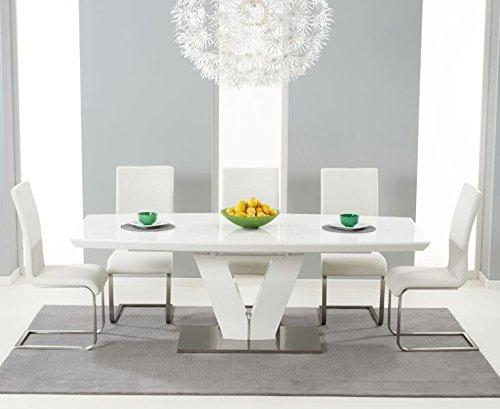 """Oak Furniture House Set con tavolo estensibile e sedie """"Santa monica"""", 6 posti, finitura lucida, colore: bianco"""