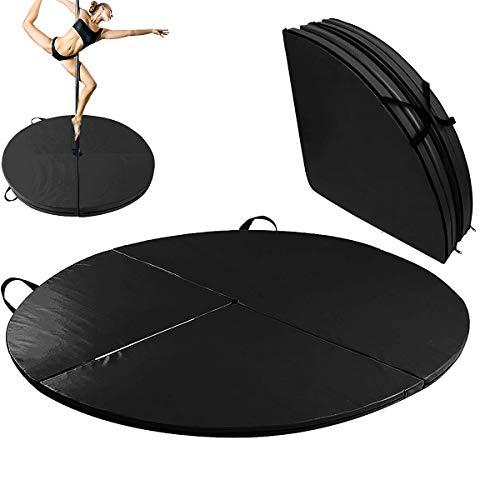 En La Sala De La PU Pole Dance Mat, Antideslizante Yoga De La Aptitud Mats, Redondo Impermeable Espesado Danza Colchoneta De Ejercicio Plegable De Seguridad Gimnasio Mat,Negro