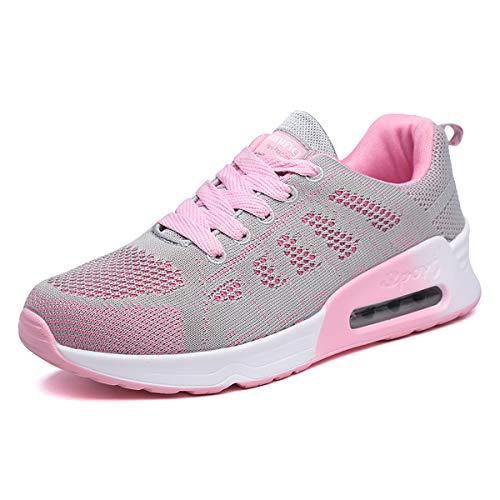 Mujer Entrenador Zapatos Gimnasio Deportes atléticos Zapatillas de Deporte Malla Informal Zapatos para Caminar Encaje Plano Gris Rosa EU 41