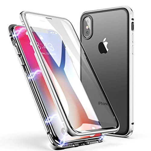 iPhone 7 Plus Case, iPhone 8 Plus Case, ZHIKE Magnetic Adsorption Case Front and Back Tempered Glass Full Screen Coverage One-Piece Design Flip Cover for Apple iPhone 7 Plus/8 Plus (Clear White)