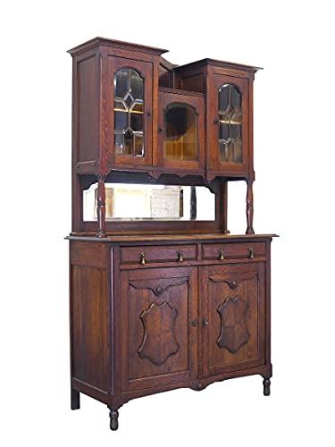 Antiker Buffetschrank um 1930 aus Eiche | Buffet Schrank Küchenschrank | 5-türig mit Spiegel | B: 121 cm (10219)