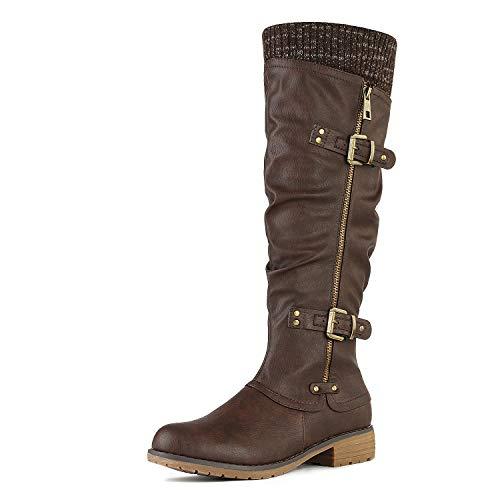 DREAM PAIRS Women's Depp Brown Knee High Boots Size 7.5 B(M) US