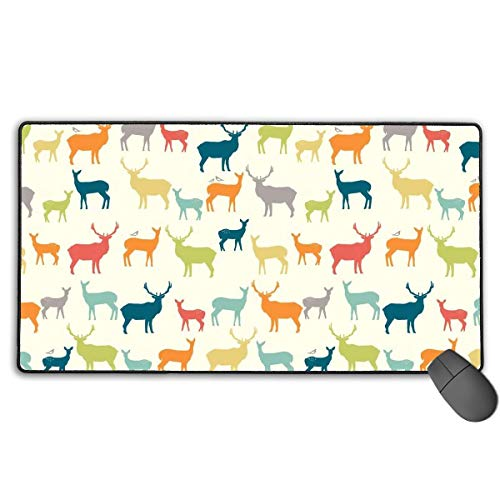 liulishuan Large Gaming Mouse Pad/Mat, Colorful Elk Mousepad with Non-Slip Rubber Base for Computers Office & Home, Durable Stitched Edges Multicolor9