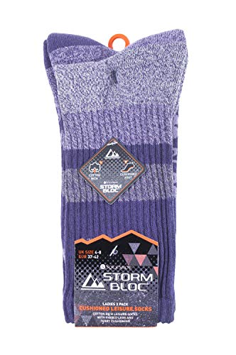 Storm Bloc - 3 Pairs Ladies Anti Blister Lightweight Breathable Cotton Summer Walking Hiking Socks with Padded Sole (4-8 uk, SBLS002PUR)