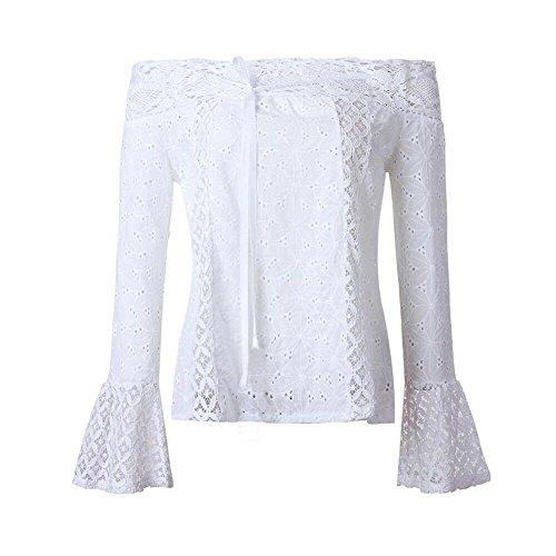 DEELIN La Camiseta Floja del CordóN De Manga Larga Fuera del Hombro De Las Mujeres Florece La Camiseta 2018 Popular Nuevo (S, Blanco)