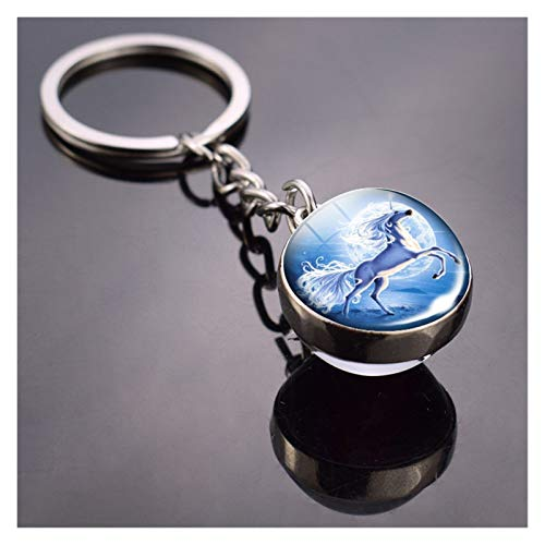 jsobh Keychains 1pc/set Keyring Keychain Art Picture Glass Ball Key Chain Cartoons (Color : R 1PC)