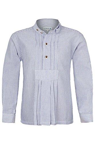 Isar-Trachten Jungen Kinder Trachten-Stehbund-Schlupf-Hemd mit Pfoad gestreift Marine, BLAU (Marine), 116