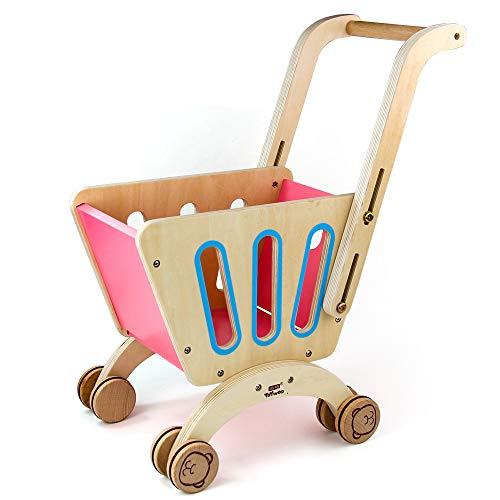 jerryvon Carrito Compra Juguetes de Madera Accesorios Cocina y Tiendas Supermercado de Juguetes Regalo para Niños Niñas 3 4 5 6 Años