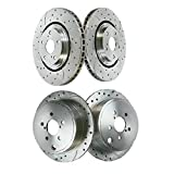 AutoShack BRKPKG040150 Set of 4 Front and Rear Drilled and Slotted Disc Brake Rotors Replacement for 2011-2013 Hyundai Sonata 2011 2012 2013 2014 Kia Optima